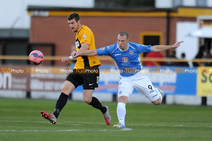 Joe Connor of Southport battles for the ball with James Constable of Eastleigh - Southport vs Eastleigh - FA Challenge Cup 2nd Round Football at Haig Avenue, Southport, Merseyside - 07/12/14 - MANDATORY CREDIT: Greig Bertram/TGSPHOTO - Self billing applies where appropriate - contact@tgsphoto.co.uk - NO UNPAID USE