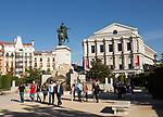 Opera House theatre, Plaza de Oriente equestrian statue King Felipe IV designed by Velazquez, Madrid, Spain