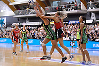 Pulse' Tiana Metuarau and Tactix' Jane Watson in action during the ANZ Premiership - Pulse v Tactix at Fly Palmy Arena, Palmerston North, New Zealand on Sunday 10 March 2019. <br /> Photo by Masanori Udagawa. <br /> www.photowellington.photoshelter.com