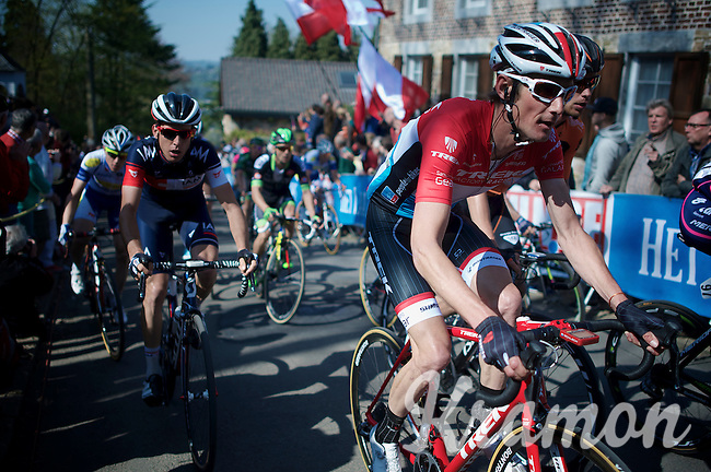 Fränk Schleck (LUX/Trek Factory Racing) up the infamous Mur de Huy (1300m/9.8%)<br /> <br /> 79th Flèche Wallonne 2015