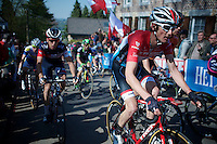 Fr&auml;nk Schleck (LUX/Trek Factory Racing) up the infamous Mur de Huy (1300m/9.8%)<br /> <br /> 79th Fl&egrave;che Wallonne 2015