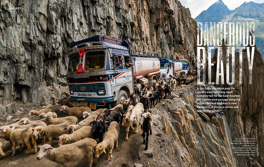 "A photo essay ""Dangerous Beauty"" about Zojila Pass between Ladakh and Kashmir in India, considered one of the most dangerous roads in the world appearing in Fah Thai, the inflight magazine of Bangkok Airways by photographer Blaine Harrington III."