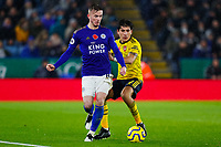 9th November 2019; King Power Stadium, Leicester, Midlands, England; English Premier League Football, Leicester City versus Arsenal; James Maddison of Leicester City holds off Hector Bellerin of Arsenal - Strictly Editorial Use Only. No use with unauthorized audio, video, data, fixture lists, club/league logos or 'live' services. Online in-match use limited to 120 images, no video emulation. No use in betting, games or single club/league/player publications