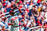 23 August 2018: Philadelphia Phillies first baseman Carlos Santana puts away an infield fly for the second out of the 5th inning against the Washington Nationals at Nationals Park in Washington, DC. The Phillies shut out the Nationals 2-0 to take the 3rd game of their 3-game mid-week divisional series. Mandatory Credit: Ed Wolfstein Photo *** RAW (NEF) Image File Available ***
