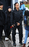 www.acepixs.com<br /> <br /> January 24 2017, New York City<br /> <br /> (L-R) Sarah Paulson, Awkwafina and Rihanna on the Midtown Manhattan set of the new movie 'Ocean's Eight' on January 24 2017 in New York City<br /> <br /> By Line: Zelig Shaul/ACE Pictures<br /> <br /> <br /> ACE Pictures Inc<br /> Tel: 6467670430<br /> Email: info@acepixs.com<br /> www.acepixs.com