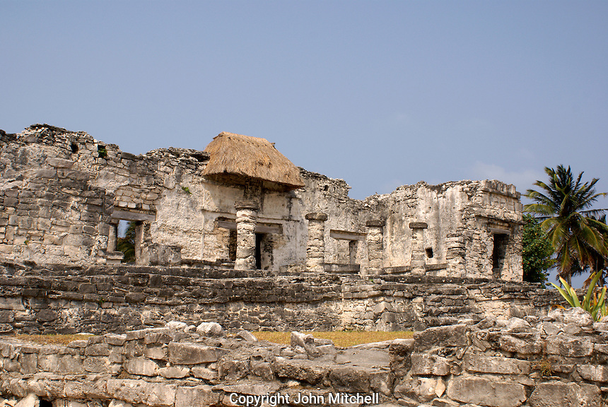 House of Halach Uinic at the Mayan ruins of Tulum on the Riviera Maya, Quintana Roo, Mexico.