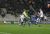 Preston North End's Sean Maguire scores his sides second goal <br /> <br /> Photographer Mick Walker/CameraSport<br /> <br /> The EFL Sky Bet Championship - Preston North End v Leeds United - Tuesday 10th April 2018 - Deepdale Stadium - Preston<br /> <br /> World Copyright &copy; 2018 CameraSport. All rights reserved. 43 Linden Ave. Countesthorpe. Leicester. England. LE8 5PG - Tel: +44 (0) 116 277 4147 - admin@camerasport.com - www.camerasport.com