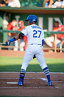 Cristian Santana (27) of the Ogden Raptors bats against the Orem Owlz in Pioneer League action at Lindquist Field on June 21, 2017 in Ogden, Utah. The Owlz defeated the Raptors 16-5. This was Opening Night at home for the Raptors.  (Stephen Smith/Four Seam Images)