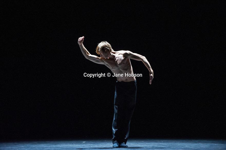 London, UK. 18.11.2013. Stuttgart Ballet presents MADE IN GERMANY at Sadler's Wells. This piece is Fancy Goods by Marco Goecke. Dancer pictured: Friedemann Vogel. Photograph © Jane Hobson.
