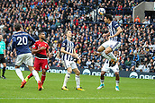 30th September 2017, The Hawthorns, West Bromwich, England; EPL Premier League football, West Bromwich Albion versus Watford; Ahmed Hegazy of West Bromwich Albion heads the ball out of defence