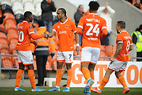Blackpool's Nathan Delfouneso celebrates scoring his side's second goal with team-mate Sullay Kaikai<br /> <br /> Photographer Kevin Barnes/CameraSport<br /> <br /> Emirates FA Cup Second Round - Blackpool v Maidstone United - Sunday 1st December 2019 - Bloomfield Road - Blackpool<br />  <br /> World Copyright © 2019 CameraSport. All rights reserved. 43 Linden Ave. Countesthorpe. Leicester. England. LE8 5PG - Tel: +44 (0) 116 277 4147 - admin@camerasport.com - www.camerasport.com