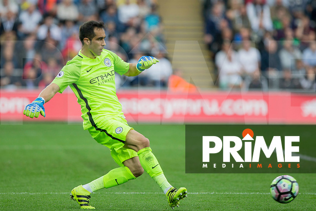Claudio Bravo of Manchester City during the EPL - Premier League match between Swansea City and Manchester City at the Liberty Stadium, Swansea, Wales on 24 September 2016. Photo by Mark  Hawkins.