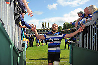 Tom Dunn of Bath Rugby celebrates the win with supporters. Aviva Premiership match, between Bath Rugby and Saracens on September 9, 2017 at the Recreation Ground in Bath, England. Photo by: Patrick Khachfe / Onside Images