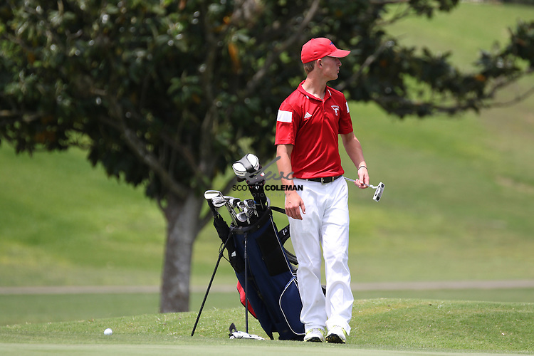 Ben Phillips of Madisonville High School in first-round action at the UIL Class 4A state golf tournament at the Onion Creek Golf Club in Austin on Monday, April 25, 2016.
