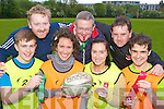 Tag rugby players keeping fit at the recommencing of the Tag Rugby in Killarney Community College  on Tuesday night front row l-r: Brendan Fuller, Ciara Tracey, Catriona O'Callaghan, Pat Fuller. Back row: Fergus Cronin, Mike Fuller, Shane Tydings ..