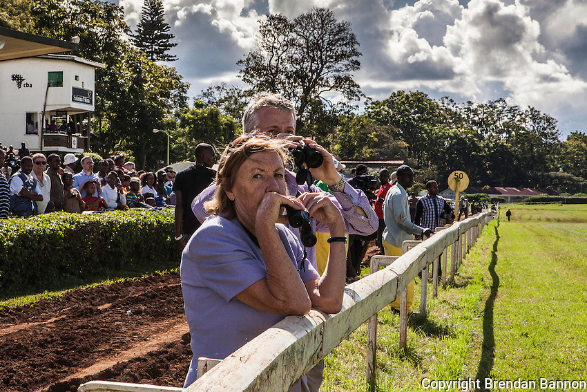 Fans prepare to watch the annual Kenya Derby in Nairobi, Kenya at the Ngong racecourse. April 14, 2013. Photo, Brendan Bannon