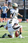Torrance, CA 09/08/11 - Charles Chae (Peninsula #16) and Ian Escutia (Peninsula #2) in action during the North-Peninsula Junior Varsity Football game at North High School in Torrance.