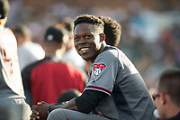 Salt River Rafters shortstop Jazz Chisholm (1), of the Arizona Diamondbacks organization, in the dugout during the Arizona Fall League Championship Game against the Peoria Javelinas at Scottsdale Stadium on November 17, 2018 in Scottsdale, Arizona. Peoria defeated Salt River 3-2 in 10 innings. (Zachary Lucy/Four Seam Images)