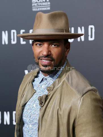 "WESTWOOD, CA - February 28: Laz Alonso, At Premiere Of WGN America's ""Underground"" Season 2, At The Regency Village Theatre In California on February 28, 2017. Credit: Faye Sadou/MediaPunch"