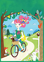 Artist riding bike in countryside surrounded by cute animals