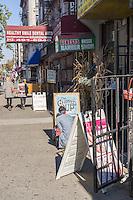 Businesses along Broadway in the Harlem neighborhood of New York on Sunday, October 27, 2013.  (© Richard B. Levine)