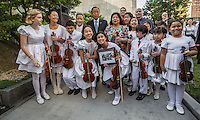 NEW YORK CITY, UNITED STATES SEPTEMBER 16, 2016: The young musicians who performed at the ceremony pose for a group portrait at the end of the Peace Bell ceremony as a commemoration of the International Day of Peace at the United Nations in New York. Photo by VIEWpress/Maite H. Mateo