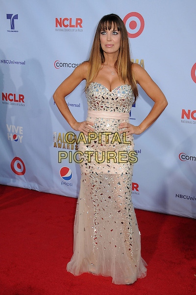 Sandra Vidal.2012 NCLR ALMA Awards - arrivals, held at The Pasadena Civic Auditorium, Pasadena, California USA..16th September 2012.full length silver white embellished jewel encrusted dress cleavage hands on hips strapless .CAP/ADM/BP.©Byron Purvis/AdMedia/Capital Pictures.