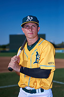 AZL Athletics Gold Matt McGarry (13) poses for a photo before an Arizona League game against the AZL Rangers on July 15, 2019 at Hohokam Stadium in Mesa, Arizona. The AZL Athletics Gold defeated the AZL Rangers 9-8 in 11 innings. (Zachary Lucy/Four Seam Images)