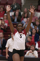 27 October 2005: Njideka Nnamani during Stanford's 3-0 win over Oregon in Stanford, CA.