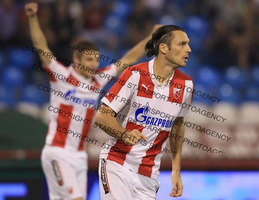 Fudbal Jelen Super League season 2014-2015<br /> Crvena Zvezda v Jagodina<br /> Djordje Rakic (R) celebrates the goal <br /> Beograd, 08.16.2014.<br /> foto: Srdjan Stevanovic/Starsportphoto&copy;