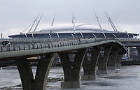 March 11th 2017, ST PETERSBURG, RUSSIA: A view of the Yakhtenny Bridge under construction. Meant to link the southern shore of St Petersburgs Primorsky District and the northern shore of Krestovsky Island, the bridge will provide access for transport and pedestrians to the Saint Petersburg Stadium used for the 2018 World Cup football finals