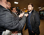 Russell Martin arrives at Glasgow airport