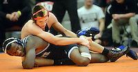 Boyertown's Elijah Jones (top) is in control of Council Rock South's Tyler Gettmann during the 170 pound match Saturday February 6, 2016 at the Upper Dublin High School in Fort Washington, Pennsylvania. (Photo by William Thomas Cain)