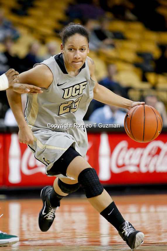 January 13, 2011: Central Florida guard Jelisa Caldwell (23) drives to the basket during second half Conference USA NCAA basketball game action between the UAB Blazers and the Central Florida Knights, Central Florida defeated UAB 65-55 at the UCF Arena Orlando, Fl.