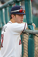 Jamie Ritchie (17) of the Lancaster JetHawks watches a game against the Bakersfield Blaze at The Hanger on June 18, 2016 in Lancaster, California. Bakersfield defeated Lancaster, 10-7. (Larry Goren/Four Seam Images)