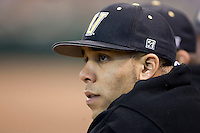 Vanderbilt starting pitcher David Price watches the action from the dugout after throwing 5 2/3 innings versus Rice at the 2007 Houston College Classic at Minute Maid Park in Houston, TX, Friday, February 9, 2007.  Vanderbilt defeated Rice 7-3.