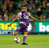 2nd February 2019, HBF Park, Perth, Australia; A League football, Perth Glory versus Wellington Phoenix; Juande of Perth Glory has a long range shot on goal during the first half