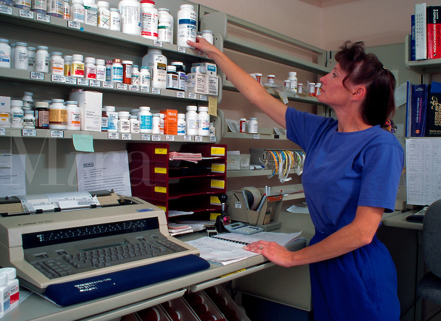 Woman working in hospital pharmacy