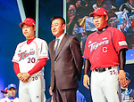 Kim Ki-Tae, Yoon Suk-min and Lee Bum-Ho, Mar 28, 2016 : South Korean baseball team Kia Tigers' manager Kim Ki-Tae (C), pitcher Yoon Suk-min (L) and third baseman Lee Bum-Ho pose during a media day and fanfest of 10 clubs in the Korea Baseball Organization (KBO) in Seoul, South Korea. (Photo by Lee Jae-Won/AFLO) (SOUTH KOREA)