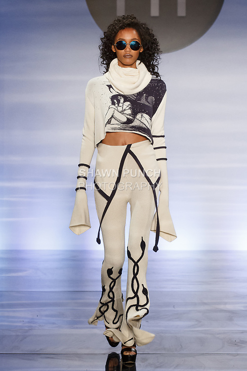Model walks runway in an outfit by Grecia Rodriguez, during the Future of Fashion 2017 runway show at the Fashion Institute of Technology on May 8, 2017.