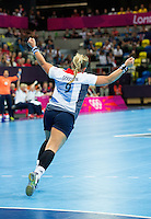 28 JUL 2012 - LONDON, GBR - Britt Goodwin (GBR) of Great Britain celebrates scoring during the women's London 2012 Olympic Games Preliminary round handball match against Montenegro  in The Copper Box in the Olympic Park, in Stratford, London, Great Britain .(PHOTO (C) 2012 NIGEL FARROW)