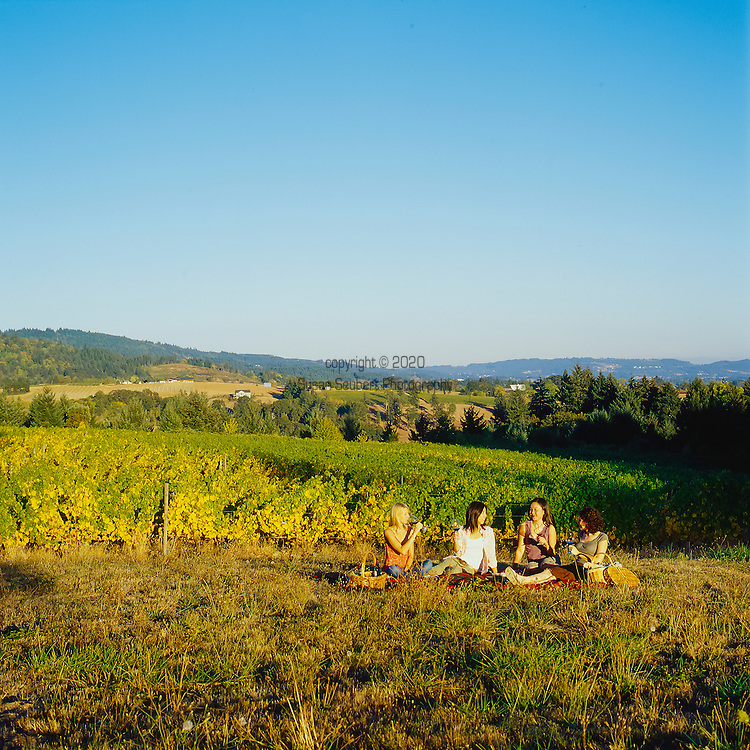 Women having a picnic with wine at the Brick House Vineyard in Dundee, Oregon