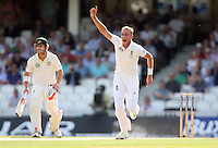 Stuart Broad of England unsuccessfully appeals for a wicket early on - England vs Australia - 1st day of the 5th Investec Ashes Test match at The Kia Oval, London - 21/08/13 - MANDATORY CREDIT: Rob Newell/TGSPHOTO - Self billing applies where appropriate - 0845 094 6026 - contact@tgsphoto.co.uk - NO UNPAID USE