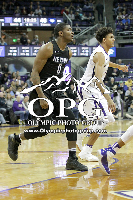 SEATTLE, WA - DECEMBER 11:  Nevada's Cameron Oliver against Washington.  Nevada defeated Washington 87-85 at Alaska Airlines Arena in Seattle, WA.