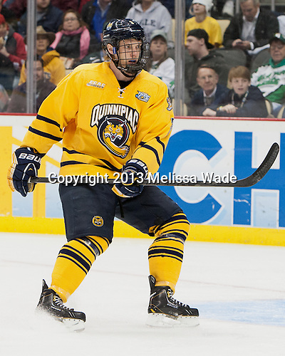 Zach Davies (QU - 3) - The Yale University Bulldogs defeated the Quinnipiac University Bobcats 4-0 in the 2013 Frozen Four final to win the national championship on Saturday, April 13, 2013, at the Consol Energy Center in Pittsburgh, Pennsylvania.