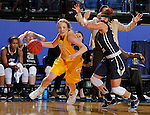 BROOKINGS, SD - DECEMBER 11:  Madison Guebert #11 from South Dakota State University drives against Mei-Lyn Bautista #21 from George Washington during their game Sunday afternoon at Frost Arena in Brookings. (Photo by Dave Eggen/Inertia)