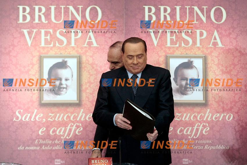 Silvio Berlusconi e Bruno Vespa<br /> Roma 04-12-2013 Tempio do Adriano. Presentazione del libro 'Sale, zucchero e caff&egrave;'<br /> Photo Samantha Zucchi Insidefoto