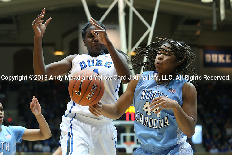 03 March 2013: Duke's Elizabeth Williams (1) and North Carolina's Tierra Ruffin-Pratt (44). The Duke University Blue Devils played the University of North Carolina Tar Heels at Cameron Indoor Stadium in Durham, North Carolina in a 2012-2013 NCAA Division I and Atlantic Coast Conference women's college basketball game. Duke won the game 65-58.