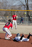 March 23, 2012:   Nevada Wolf Pack's Sara Parsons slides safely into second as  Fresno State Bulldogs second base Brooke Ortiz takes the throw during their NCAA softball game played at Christina M. Hixson Softball Park on Friday in Reno, Nevada.