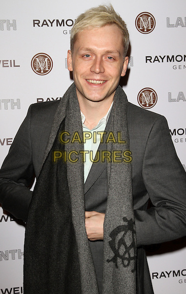 MR HUDSON (Benjamin Hudson McIldowie).Raymond Weil Pre Brits Dinner at Mozaica, Wood Green, London, England..January 26th 2012.half length grey gray suit scarf white top  .CAP/ROS.©Steve Ross/Capital Pictures